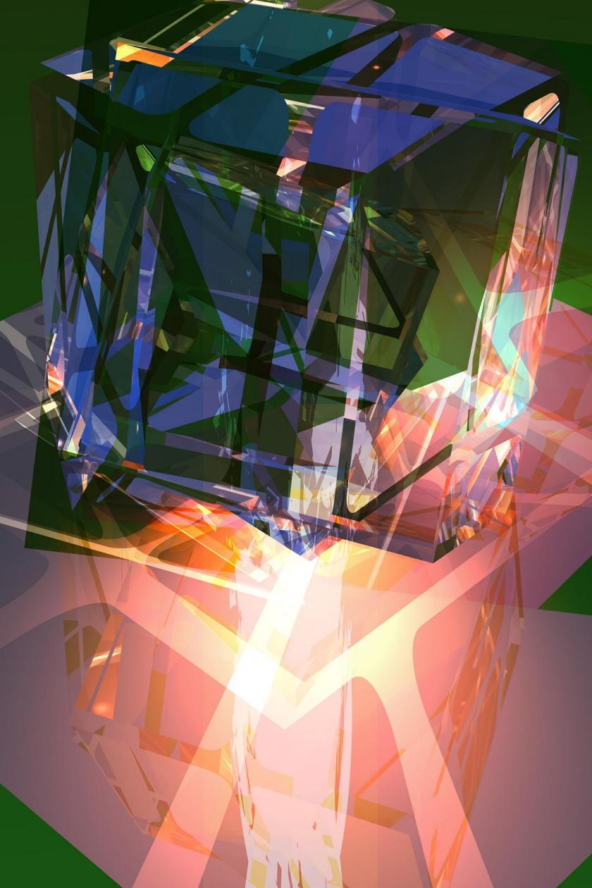 sci fi art architecture fusion neural dimensional light
